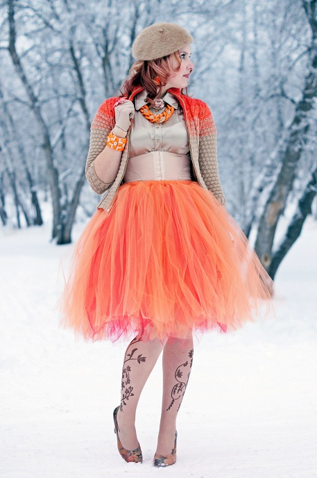 Winnipeg Fashion Blog, Canadian Fashion Blog, Etsy Princessdoodlebeans orange red reversible tulle tutu skirt, Vedette Shapewear Ivana torsette waist cincher short waist firm control, Le Chateau silk camel blouse, TJ Maxx orange link gold chain necklace, Rachel Roy orange tan cable knit ombre cardigan, Ardene tan mohair beret, Anne Klein flower vine tattoo tights nylons, Fluevog Floral Daily Miracles Fortune leather printed pumps