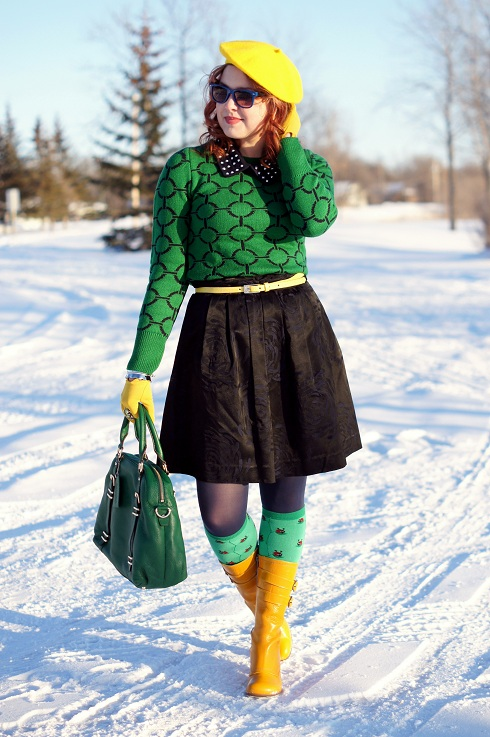 Winnipeg Fashion Blog, Canadian Fashion Blog, Joe Fresh circle print emerald green navy sweater jumper, Attitude Jay Manuel navy studded wool collar, Pink Tartan navy black flower printed taffeta pocket skirt, Danier leather yellow skinny belt, Danier rainforest green leather dome bag, Hue Navy tights, Sock It To Me lady bug ladybird red green knee high socks, Vintage mustard yellow brown wrist gloves, Lia Sophia bow silver bangle crown ruffle silver bangle, Ebay bright yellow wool beret, Ardene navy blue sunglasses, Fluevog mustard goldenrod leather Operetta Mirella calf boots