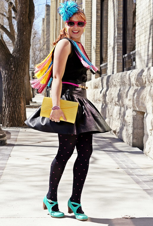 Winnipeg Fashion Blog, Canada Fashion Blog, Winnipeg Stylist, Cynthia Rowley multicolor tassel spectral silk tank top, Vedette shapewear Francesca bodysuit, Danier leather black leather circle skater skirt, BCBG Max Azria pink gold bow belt, Jacques Vert blue feather fascinator, Danier leather yellow croco clutch, Forever 21 black pink heart tights, Ada Kibur neon yellow earrings, Betsey Johnson pink crystal lip clutch, Lia Sophia silver crown bracelet, Ardene pink sunglasses, Fluevog turquoise leather Operetta Malibran heels