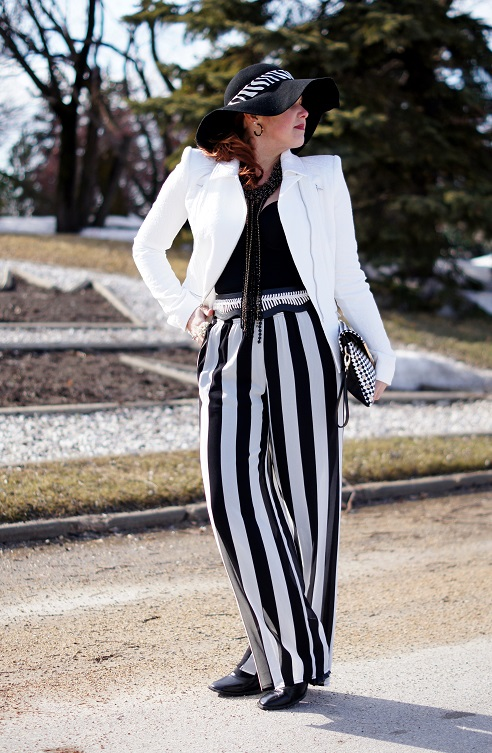 Winnipeg Fashion Blog, Canadian Fashion Blog, Winnipeg Stylist, BCBG Max Azria White floral jacquard Boe Moto Jacket, Vedette Shapewear Judith shaping black bodysuit, Forever 21 black white stripe pants, BCBG Max Azria black white whip stitch waist belt, Wet Seal black wool floppy hat, Coach black white zebra silk ponytail scarf, Joan Rivers black gold enamel bee hoop earrings, Ottaviani Bijoux black clear tassel beaded necklace, Vintage pearl ring, Aldo Trevis black white checkered studded clutch bag purse, Fluevog Rococo Lady Ophelia black patent leather batwing heels