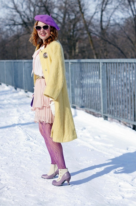 Winnipeg Fashion Blog, Canadian Fashion Blog, Winnipeg Stylist, Vedette Shapewear Abella shaping skirt body suit with bra nude, Gainsborough by Irving Samuel pastel pale yellow oversized trapeze a line mohair coat, Parkhurst purple wool beret, Forever 21 pink white striped bow chiffon blouse, BCBG Max Azria pink nude light cameo Jaylin tiered pleated chiffon skirt, BCBG Max Azria aquamarine crystal waist belt, Jessica purple pattern fishnet tights, The Shopping Channel rose quartz pink pearl bracelets, Pearl bracelet watch, Forever 21 crystal pastel brooch pin, Vintage cream gloves, Ardene pink retro sunglasses, Fluevog Ida Clark bellevue cream lilac purple leather victorian ankle boots