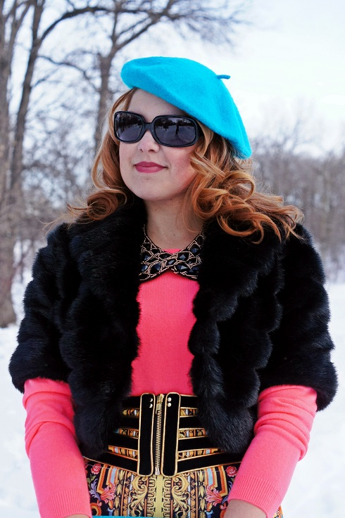 Winnipeg Fashion Blog, Canadian Fashion Blog, Winnipeg Stylist, Ardene bright blue wool beret, Laura cropped black faux fur shrug cardigan jacket, Forever 21 neon pink crewneck sweater, Forever 21 scarf print power skirt, Guess black gold crystal stone embellished peter pan collar necklace, BCBG black gold corset zipper wide belt, Juicy Couture black sunglasses, BCBG orange gold toggle chain leather bracelet, Vintage brown mustard yellow wrist gloves, Avon gold enamel bangle watch, Icing black heart bold big gold ring, Vedette Shapewear black lace full body shaper hook eye Leonora, Hue black opaque tights, Danier leather croco printed bright blue leather envelope clutch, Fluevog mustard yellow Operetta Mirella calf patent leather boots