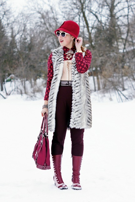 Winnipeg Fashion Blog, Canadian Fashion Blog, Winnipeg Stylist, Willi Smith wine burgundy cropped pants, Topshop faux fur chevron gilet long vest, Something Special burgundy wine wool feather rhinestone crystal bell hat, Joe Fresh cotton burgundy polka dot long sleeve blouse top, Vedette Tatienne nude lace up front bodysuit, BCBG Max Azria patent brown belt, Betsey Johnson gold crystal drop necklace, Guess burgundy patent logo handbag, Ardene cream bow sunglasses, Avon enamel gold bangle watch, The Shopping Channel pearl wrap coil bracelet, Fluevog burgundy pink victorian leather calf Mini babycake boots