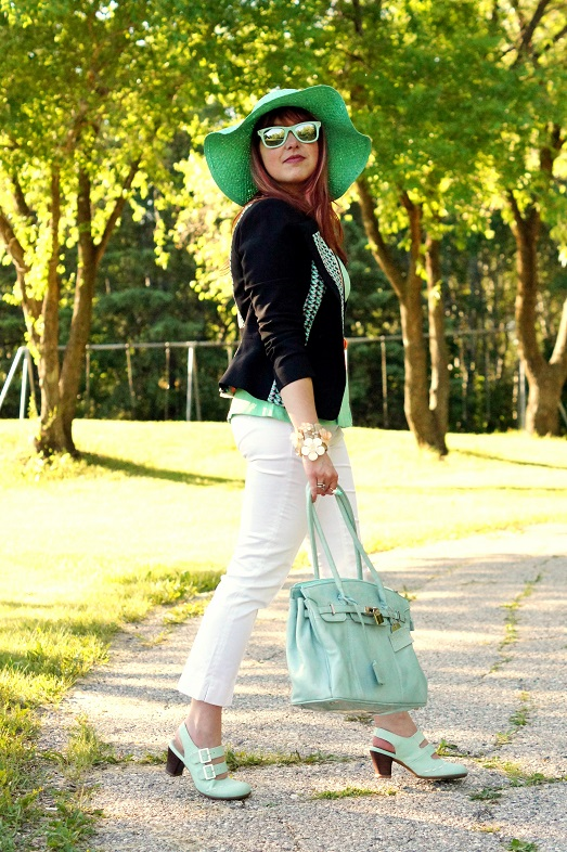 Winnipeg Fashion Blog, Canadian Fashion blog, BCBG Max Azria Edward print blocked jacket, Banana Republic mint green linen peplum top, Jessica white cotton cropped capri pants, Red Carpet Handbags mint leather patent purse, Icing mint green paper floppy hat, Forever 21 coral patent belt, Le Chateau butterfly flower bracelet, Diesel white orange mint green cuff watch, Aldo mint bird ring, Vedette Shapewear Rachel shaping legs capri shaper, Forever 21 mint green mirror sunglasses, Natasha coral crystal necklace, Fluevog mint green custom color Operetta Fiorenza slingback leather shoes