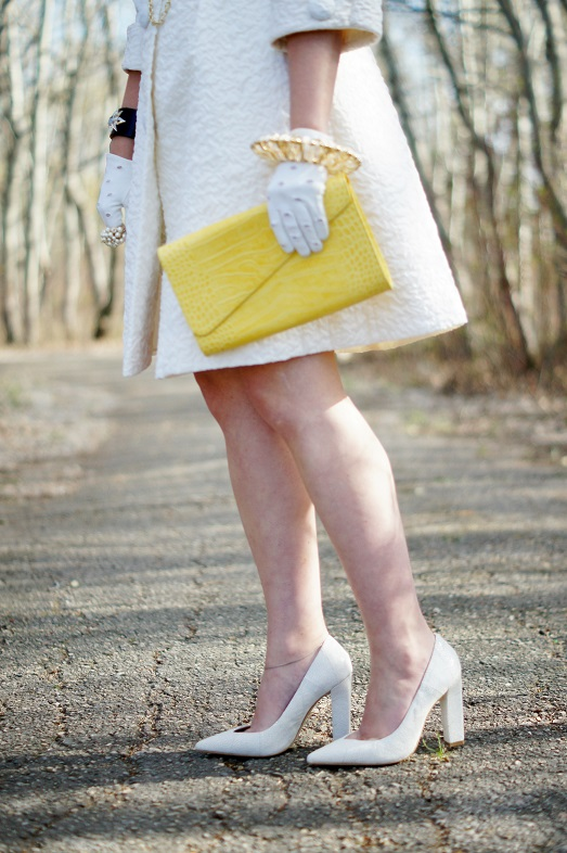 Winnipeg Fashion Blog, Canadian Fashion Blog, Vintage white quilted flare 1960's coat, BCBG Max Azria white gold chain belt, Vintage Jean Sutton white daisy flower sun hat, Danier leather yellow croc envelope clutch, Vintage white cotton wrist gloves, Swarovski black clear crystal enamel bangle bracelet, Vintage pearl ring, Sears stretch gold saucer bangle, Icing white heart sunglasses, Joan River black crystal chandelier earrings, Aldo Rise x Preen Pravda white patchwork leather pump