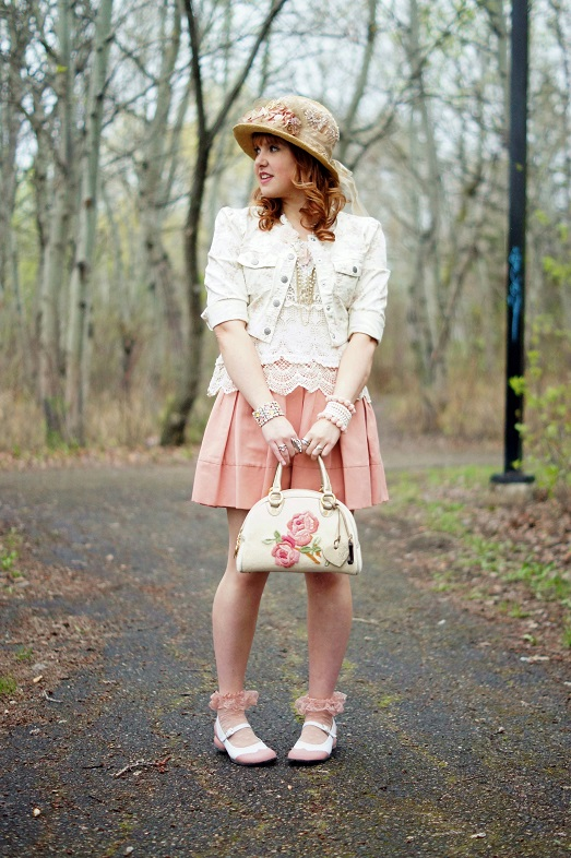 Winnipeg Fashion Blog, Canadian Fashion Blog, Madison Lane Handmade victorian style paper floral hat, Jessica Simpson cropped floral denim jean jacket, Arianne pink lace cami, Winners ISSI crochet lace tank, BCBG Max Azria Aria blush pink pleated a-line skirt, Juicy Couture terry floral embroidered bowler bag purse, Icing crochet floral gold chiffon chain necklace, Forever 21 flower enamel bracelet, The Shopping Channel pearl coil bracelet, Icing flower bracelets, Icing pink sheer ruffle socks, Fluevog pink white Fellowship Kathy saddle flat shoes