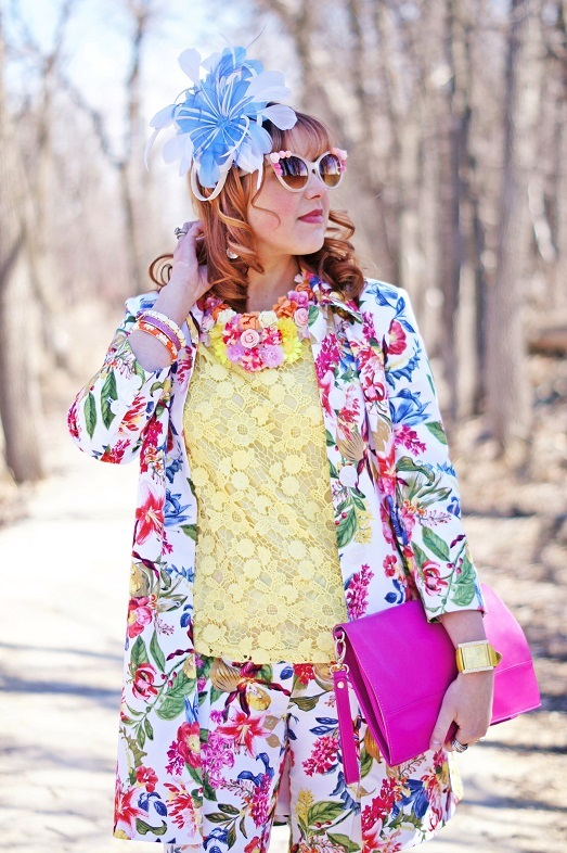 Winnipeg Fashion Blog, Winnipeg Stylist, Canadian Fashion Blog, Sears Jessica flower white bright color print topper coat jacket, Sears Jessica flower floral printed capri cropped pants, Forever 21 yellow crochet blouse top, Icing floral  flower bib collar necklace, Jacques Vert blue white fleather flower fascinator, Danier Object designer collection pink leather clutch, Betsey Johnson pink sparkle lip bangle, Avon orange enamel bangle, Joan Rivers white enamel bangle, The Shopping Channel peach jade ring, Joan Rivers patent leather orange watch, Aldo pink retro floral flower sunglasses, Fluevog orange patent leather Miracle Medugorje pumps shoes