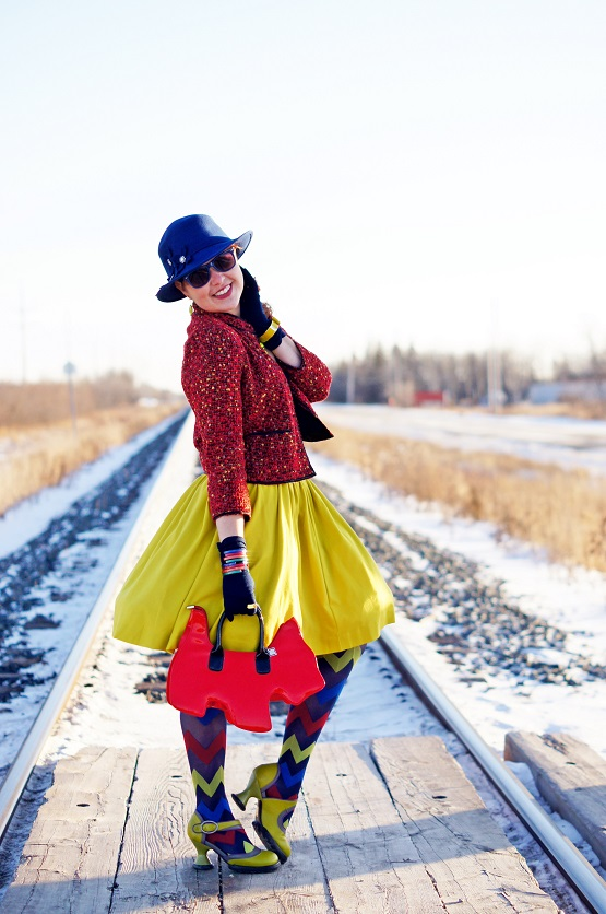 Winnipeg Fashion Blog, Canadian fashion Blog, Winter 2013, Forever 21 red tweed cropped jacket, Banana Republic Sabrina full citron circle skirt, Vedette Shapewear Yvonne black bodysuit, BCBG Max Azria cobalt blue calf hair leather scalloped belt, dconstruct recycled resin colored bangles, House of Holland Pretty Polly zigzag lime cobalt red tights, Isaac Mizrahi citron bow enamel watch, Betsey Johnson orange hippo ring, Bianca Nygard bluw wool hat, Amliya red patent scottie dog purse bag, Fluevog lime green leather Elif Mini heels
