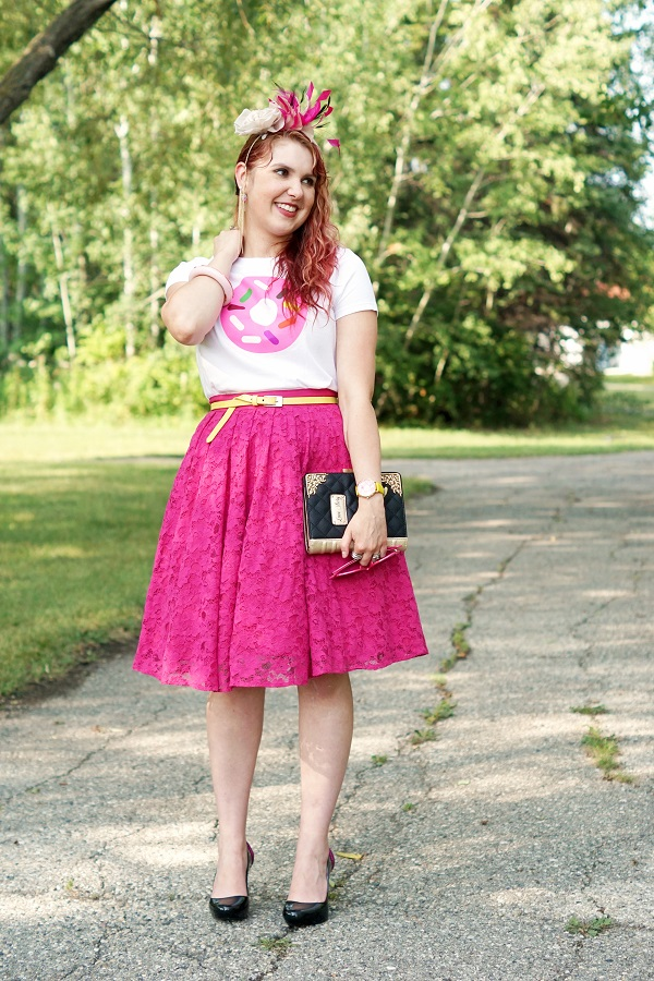 Winnipeg Fashion Blog, Canadian Fashion Stylist Consultant, Kate Spade Darcel printed donut tshirt, Forever 21 hot pink fuschia lace full circle skirt, Danier leather yellow belt, BCBG Max Azria gold dangle chain ear cuff, Kate Spade New York Darcel donut bangle bracelet watch, Jacques Vert pink black cream silk feather fascinator, Aldo Accessories love story book clutch bag, Melissa Karl Lagerfeld ice cream cone plastic shoes