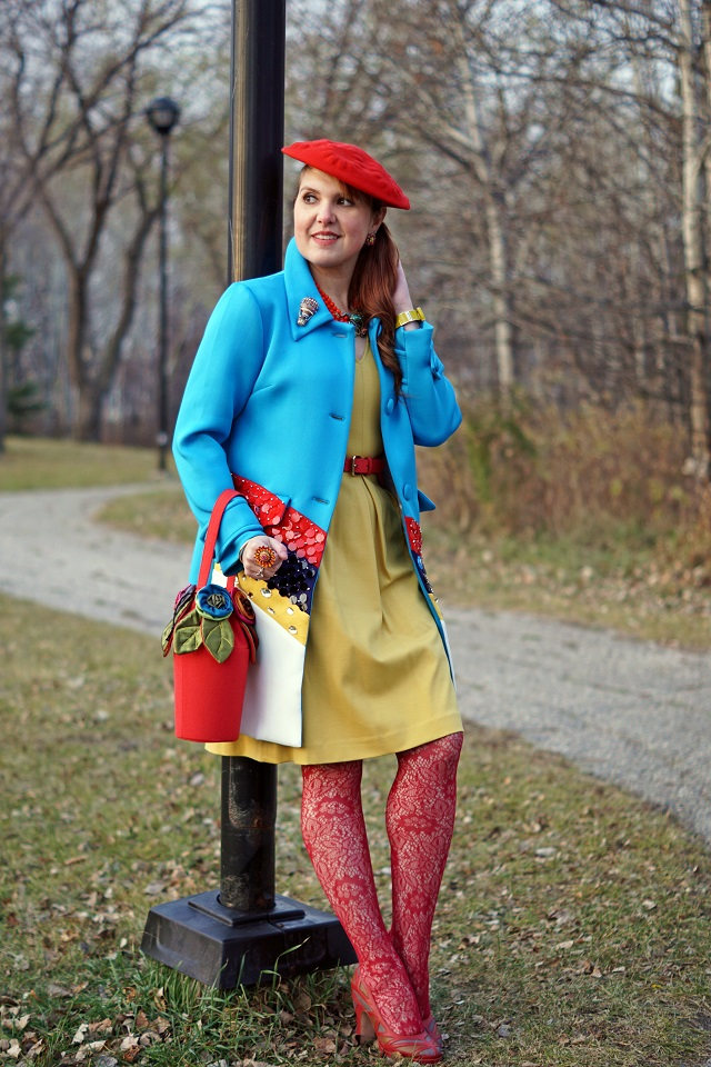 Winnipeg Canadian Fashion Stylist Blog, Choies Prada blue rainbow sequin rhinestones coat, Banana Republic mustard yellow fit flare dress, Concubine red silk flower pot handbag purse, Heidi Daus Leap Frog crystal beaded necklace, Heidi Daus Full of hot air balloon crystal pin brooch, Vintage red wool beret hat, Kate Spade Song bird cage gold bangle bracelet, John Fluevog Miracle platform red mosaic leather heels