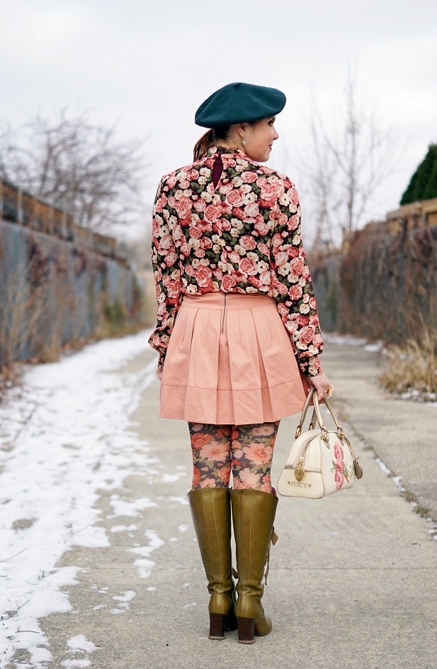 Winnipeg Canadian Fashion Stylist Consultant Blog, Forever 21 rose floral rose print blouse top, BCBG Max Azria Aria pink blush pleated skirt, Joe Fresh green wool beret, Forever 21 coral rose floral print tights, Juicy Couture terry rose embroidered bowler purse handbag, John Fluevog Hildegard Soprano olive green knee high lace up leather boots