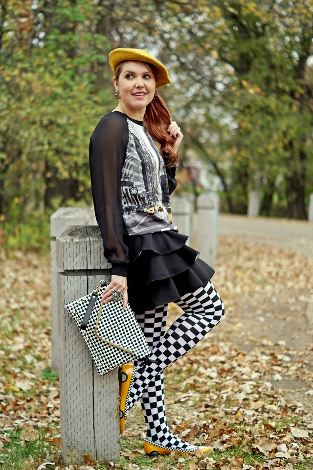 Winnipeg Canadian Fashion Stylist consultant blog, #ElieTahariForKhols , Elie Tahari for DesigNation Taxi Georgette New York top, Kate Spade New York yellow taxi cab patent leather flats, BCBG Maxi Azria Charla tiered black white ruffle a line skirt, Aldo accessories black and white checkered clutch purse bag, Black white checkered Forever 21 tight