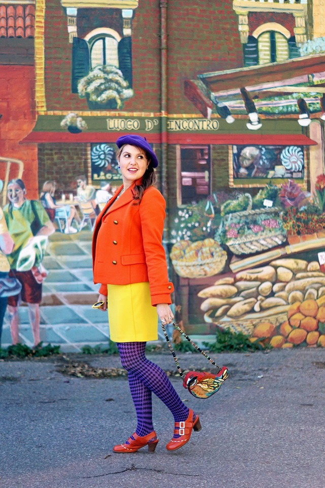 Winnipeg Canadian Style Consultant Fashion Blog, Banana Republic bright orange wool peacoat jacket, Vedette Shapewear Lulu shaping pin-up vintage style swimsuit, Banana Republic yellow mod mini skirt, Pierre Mantoux purple patterned checkered tights, Betsey Johnson citter statement owl crystal necklace earrings, Mary Frances Flight of Fancy bird beaded crystal clutch bag purse, John Fluevog orange Fiorenza Operetta shoes