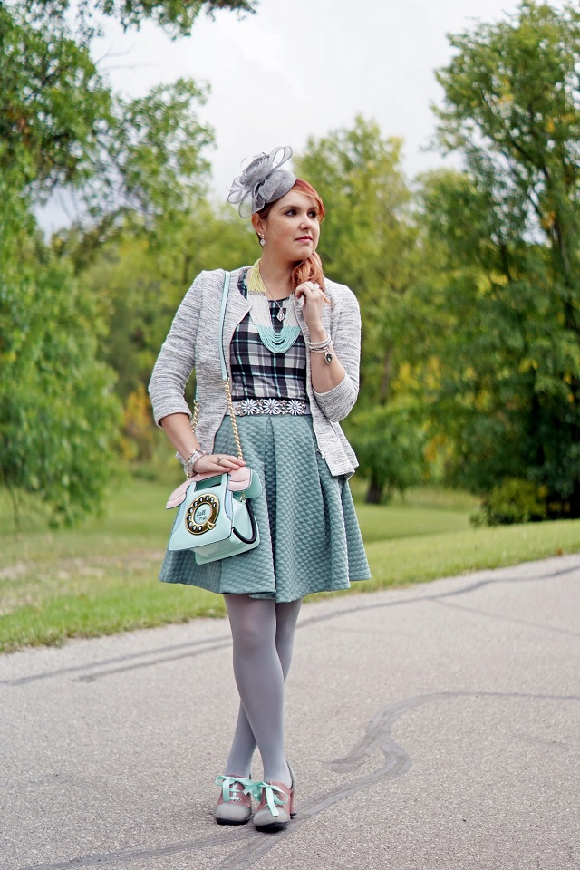 Winnipeg Canadian Fashion Stylist Consultant blog, H&M grey white peplum tweed blazer, H&M mint green quilted circle full skirt, Mac & Jac green mint black white plaid top, BCBG Max Azria crystal beaded flower belt, Precis petite grey flower fascinator hat, Aldo Accessories Call me pastel telephone handbag purse, Hue Grey tights, Reitmans seed bead necklace, Generation 1912 morganite sapphire earrings necklace, John Fluevog one of a kind sample leather heart heels