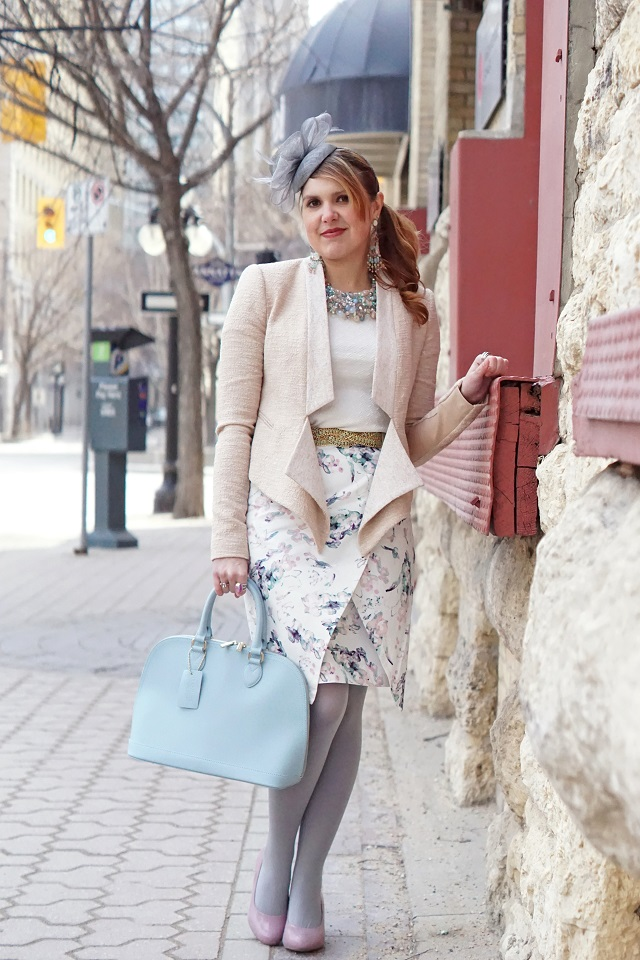Winnipeg Style Canadian Fashion Consultant Stylist Blog, Rockport Seven to 7 dusty lilac purple adiprene leather pumps, BCBG Max Azria Candice draped front tweed nude pink jacket, RW & co. printed asymmetrical pencil skirt, Danier leather baby blue saffiano leather handbag, Precis petite bow grey fascinator hat, Aldo Accessories pastel crystal statement bib necklace, spring 2015 exchange district