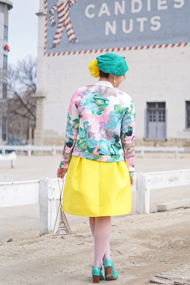Winnipeg Stylist Consultant Fashion Blog, Spring 2015, Scuba knit pastel floral bomber jacket, Lord & Taylor 424 Fifth buttercup yellow birdcage tulip skirt, Kate Spade New York Eiffel tower Paris clutch purse, Danier leather teal belt, Joe Fresh lilac top, Icing teal beret, Kate Spade lemon earrings, John Fluevog teal aqua blue mary jane Malibran Operetta shoes