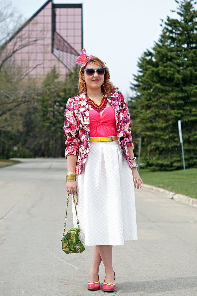 Winnipeg Fashion Stylist Consultant Blog, Kate Spade Millie Floral rose print silk cotton blazer jacket, Topshop white quilted midi skirt, Vedette Shapewear Marlene shaping pink swimsuit, Mary Frances Leap lily pad frog clutch purse, Kate Spade New York In the shade sunglasses bangle bracelet, dconstruct seaweed bangle bracelet, Fluevog hand leather painted pink yellow Wearever Arigato shoes pumps