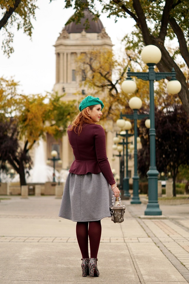 Winnipeg Style, Chie Mihara patent leather suede Norman wine tile print ankle strap shoes, H&M wine peplum blazer jacket, Mary Frances On ice wine bucket novelty clutch bag, Forever 21 heather grey a line skirt, Lord & Taylor cashmere green sweater, Ada collection leather wrap belt
