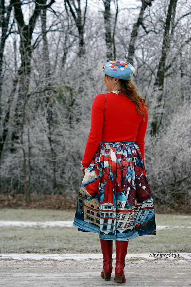 Winnipeg Style, fashion stylist, consultant, Chicwish house panoramic red and blue houses, Mary Frances novelty popcorn bucket handbag, Lord & Taylor bright red cashmere sweater, Etsy handmade Disney inspired Up balloon house hat, John Fluevog red leather Zinka operetta boots