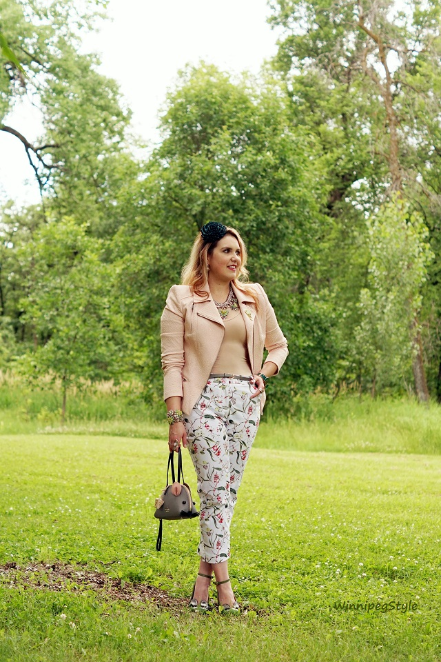 WinnipegStyle summer 2016, Nudy Patooty nude seamless bamboo undershirt, BCBG Max Azria Boe blush pink jacket blazer, Reitmans floral cropped pants, Chie Mihara Geraldine eyelash eye green heels, Kate Spade Cat's meow mouse clutch bag