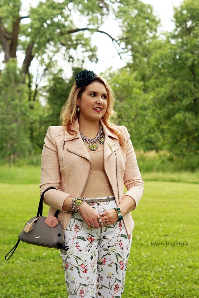 WinnipegStyle summer 2016, Nudy Patooty nude seamless bamboo undershirt, BCBG Max Azria Boe blush pink jacket blazer, Reitmans floral cropped pants, Kate Spade Cat's meow mouse clutch bag