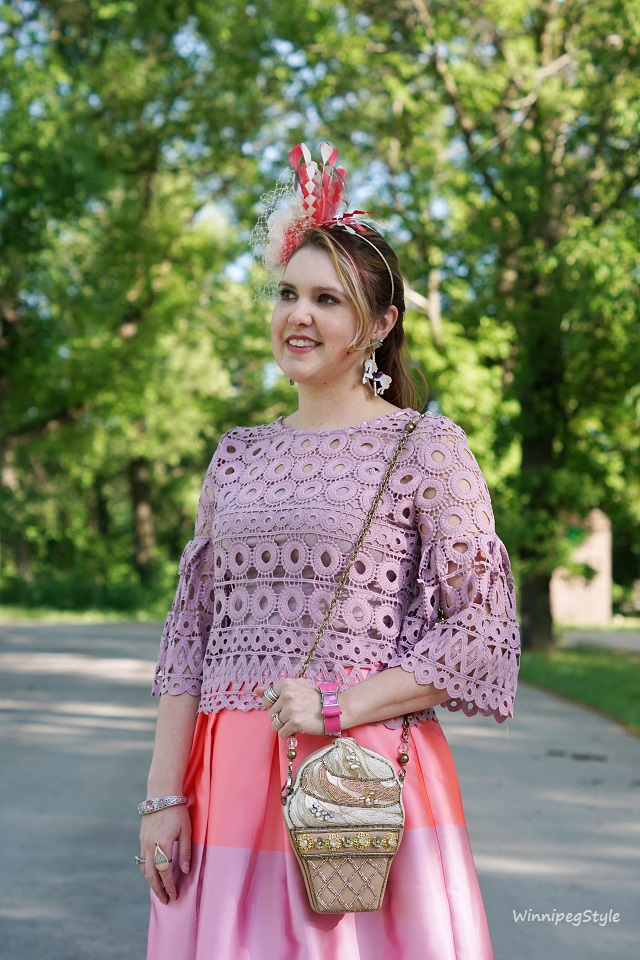 Winnipeg Style, Chicwish lilac purple crochet lace bell sleeve top. Chicwish candy stripe cotton candy skirt, Mary France The Scoop ice cream beaded clutch handbag, Fabcessories horse Carousel earrings, Jacques Vert flower feather fascinator, John Fluevog Pearl Hart Bellevue lilac shoes