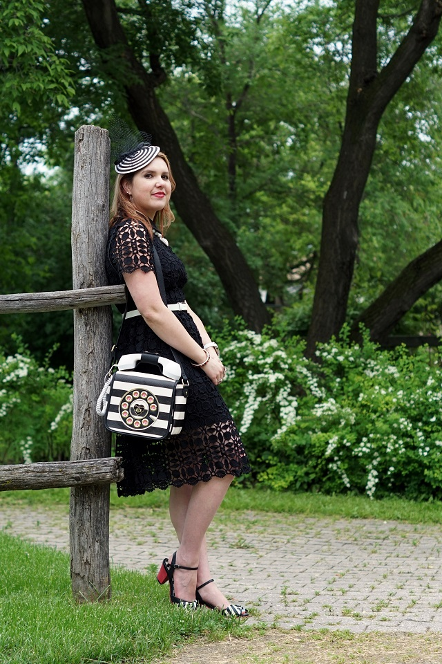 Winnipeg Style, Chicwish black crochet splendid dress, Betsey Johnson phone purse bag black white striped Call me, that's what I call style, Lola Ramona Elsie bow black white red sandals