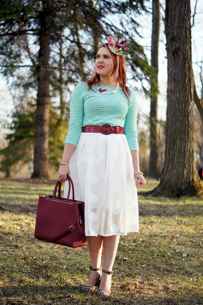 Winnipeg Style Canadian fashion stylist, FABcessories mermaid pearl necklace, Chicwish white lotus embroidered mesh midi skirt, Forever 21 jade green white top, Danier leather wine burgundy bag and belt, DIY self made butterfly fascinator, Chie Mihara Norman patent leather mosaic ankle strap shoes