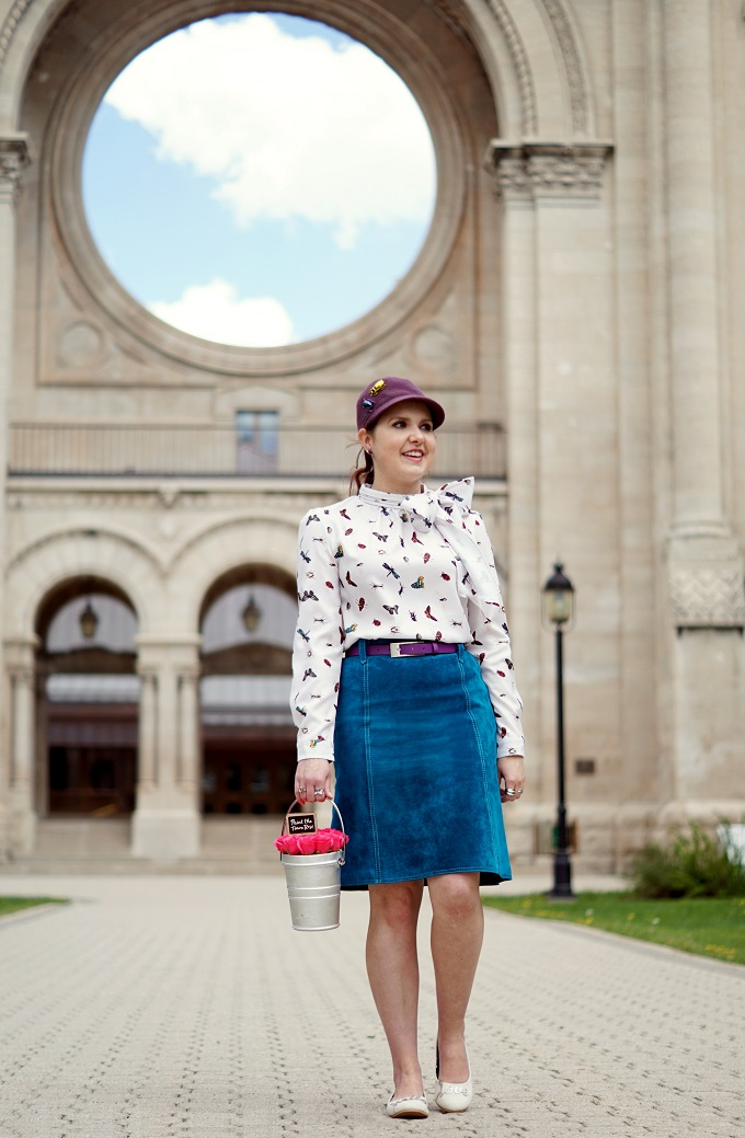 Winnipeg Style fashion stylist, Loly in the sky Hello Love Tamara flats, Chicwish Nature buddies bug critter bow chiffon top, Rose colored glasses rose pail Paint the town rose bag handbag, Danier Leather blue suede skirt, Banana republic bug beetle brooch earrings