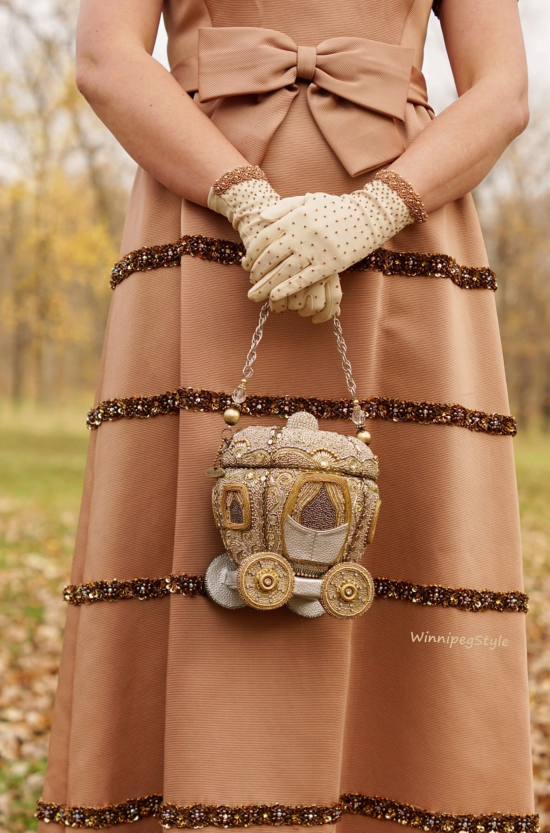 Winnipeg Style, Fashion Stylist, Fashion Consultant, Mary Frances Cinderella's coach carriage beaded handbag purse,Vintage rose gold long beaded gown, Betsey Johnson crown necklace, Vintage beaded gloves, Fluevog Desmond bronze pumps