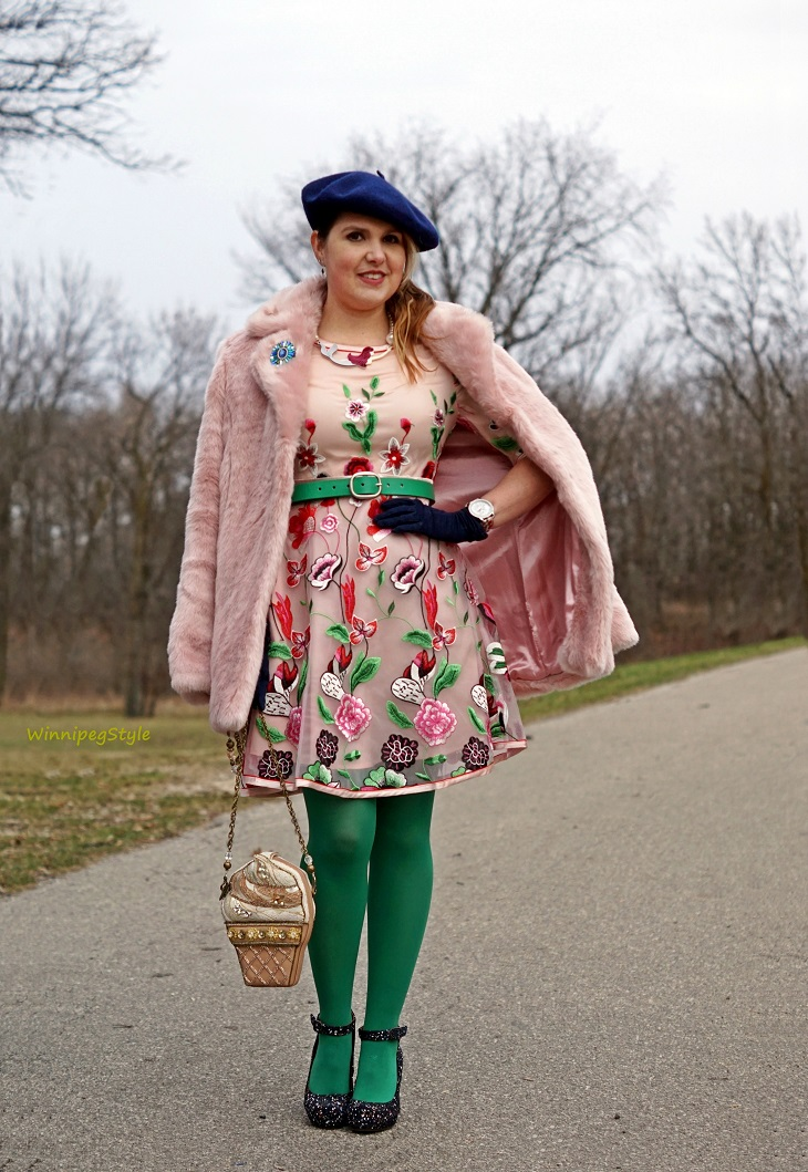 Winnipeg Style , fashion consultant, stylist, Chicwish pink floral fantasy embroiderd dress, Chicwish pink marshmallow faux fur winter coat, Chie Mihara Liuma petrol blue suede splatter paint chunky heel platform shoe, Mary Frances ice cream cone beaded bag handbag, Fabcessories mermaid necklace