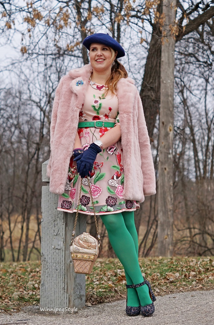 Winnipeg Style , fashion consultant, stylist, Chicwish pink floral fantasy embroiderd dress, Chicwish pink marshmallow faux fur winter coat, Chie Mihara Liuma petrol blue suede splatter paint chunky heel platform shoe, Mary Frances ice cream cone beaded bag handbag, Fabcessories meraid necklace