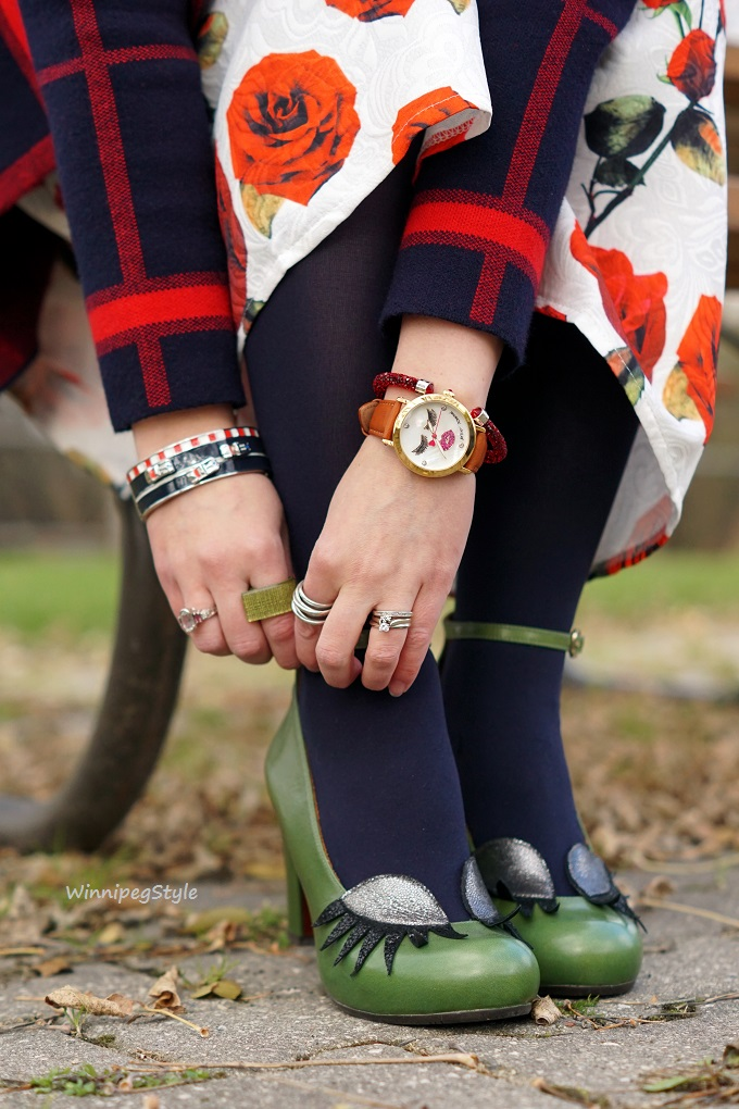 Winnipeg Style, style consultant, personal shopper, Chicwish rose print dress, Chie Mihara eye lash Geraldine green leather shoes, Mary Frances red heart bag, Chicwish navy red grid sweater coat, Kate Spade race car bangle