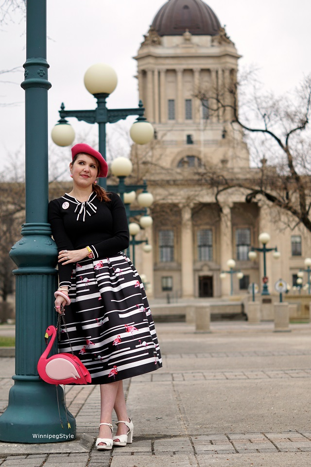 Winnipeg Style fashion stylist, Chie Mihara Gada white retro vintage sandal, Chicwish striped pink flamingo midi full skirt, Flamingo bag purse, Chicwish black white sweater, Paris Disneyland cafe minnie pin, women's fashion, women's accessories, spring 2017, canadian