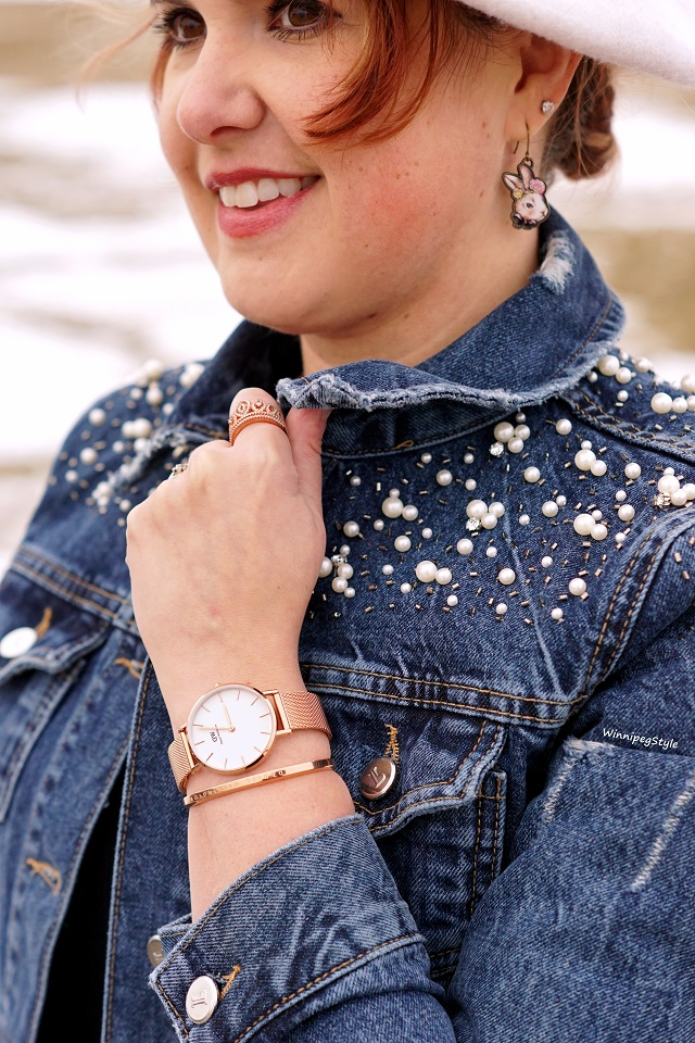 Winnipeg Style, Canadian fashion blog, stylist, Daniel Wellington watch Canada, Melrose petite rose gold plate mesh strap, classic style, rose gold plate cuff bracelet, holiday bundle
