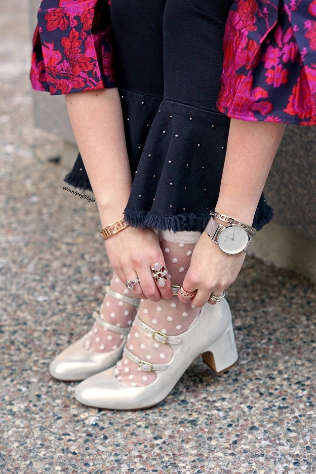 Winnipeg Style, Canadian Fashion stylist blog, The Peach Box roman numeral bangle, Marc Bale mesh strap watch, Chie Mihara Flawless silver metallic leather suede buckle heels, Pilcro black denim bell ruffle cropped studded jeans, Tabbisocks clear white polka dot mesh socks