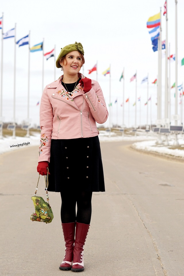 Winnipeg Style, Canadian Canada stylist fashion blog, Chicwish black sweater dress, Chicwish pink faux leather embroidered biker jacket, Mary Frances frog lily pad beaded handbag clutch bag, Nanette Draws Stuff owl necklace, John Fluevog pink wine LE babycake boots, vintage wine gloves, trendy women
