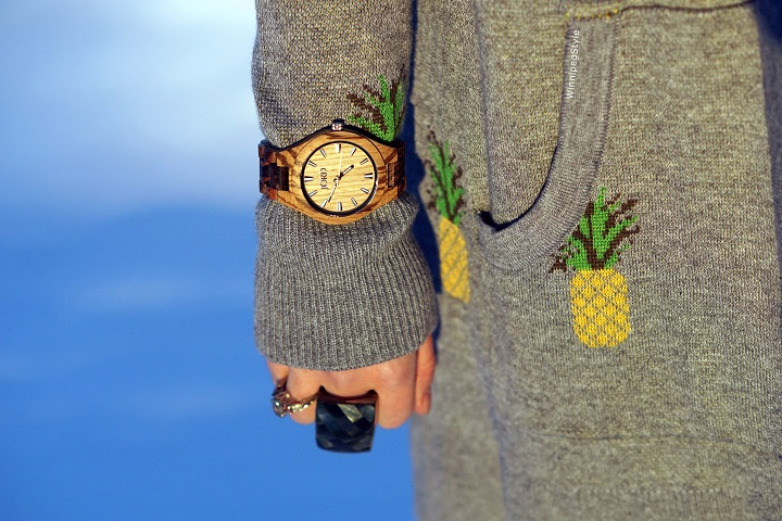 Winnipeg Style, fashion consultant, women's fashion, stylist, JORD wood watches, cool watch, unique watch, Mary Frances pineapple purse bag, Marshalls Belldini pineapple sweater, green and yellow color combination outfit, winter fashion 2017