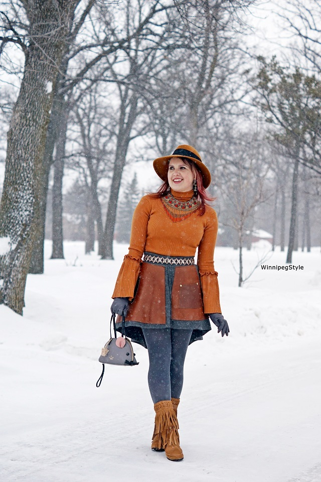 Winnipeg Style, Fashion Consultant, Stylist, Chicwish orange bell sleeve sweater, Tony Chestnut wool and reclaimed leather skirt, Kate Spade mouse handbag, womens fashion, winter fashion, canadian, unique style