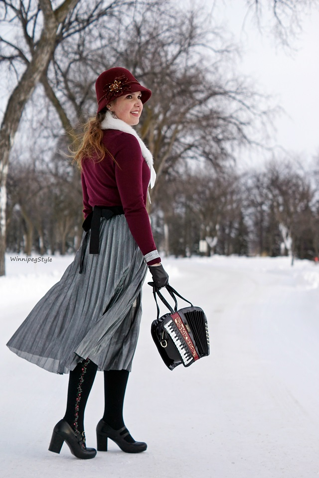 Winnipeg Style Fashion Stylist, Fashion Consultant, Bag Me Baby womens handbag purse Accordian bag, novelty musical instrument, Chicwish womens fashion skirt silver metallic pleated midi skirt, Arzie bunny enamel pin, flare game, pin game, New York Company NY and C faux fur collar accessory, fun winter fashion, Chie Mihara Tania black womens shoes Leather Made in Spain mary janes