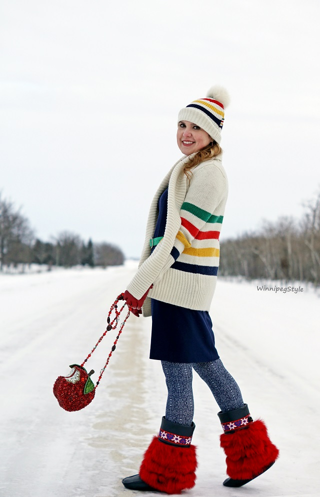 Winnipeg Style Fashion Stylist, consultant, Tabbisocks vintage wall textured tights, Julie Pedersen handmade navy leather red fur urban mulkluks, Mary Frances red apple First Bite beaded handbag purse, HBC Hudson's Bay Company signature stripes multistripe wrap cardigan, heart pins, hat, stripespotting, winter layered style 2016 2017