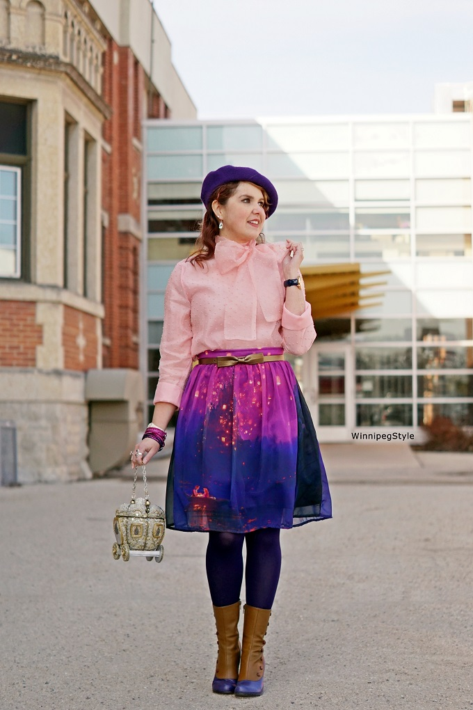 Winnipeg Style, Canadian Fashion Stylist, Chicwish pink bow top shirt, Hot Topic Disney Tangled Rapunzel boat lantern scene skirt, Mary Frances royal carriage coach beaded rhinestone 3D clutch bag Cinderella princess, John Fluevof Libby Smith spat victorian boots, Spring 2017, womens fashion, quirky, vintage, accessories, Swarovski crystal Slake wrap bracelets, pin