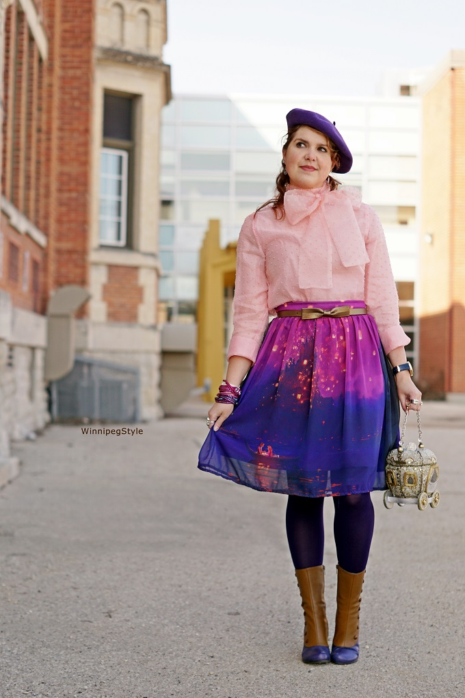 Winnipeg Style, Canadian Fashion Stylist, Chicwish pink bow top shirt, Hot Topic Disney Tangled Rapunzel boat lantern scene skirt, Mary Frances royal carriage coach beaded rhinestone 3D clutch bag Cinderella princess, John Fluevof Libby Smith spat victorian boots, Spring 2017, womens fashion, quirky, vintage, accessories, Swarovski crystal Slake wrap bracelets