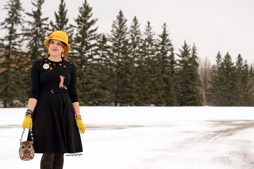 Winnipeg Style, Fashion stylist, consultant, Canadian, Canada fashion blog, Eshakti fox moon stars embroidered black flare dress, custom made, tailored, Wool mustard hat Something Special, Mary frances owl purse bag, Novelty unique, Fluevog yellow Mirella Operetta boots, vintage style, fall winter 2017 2018