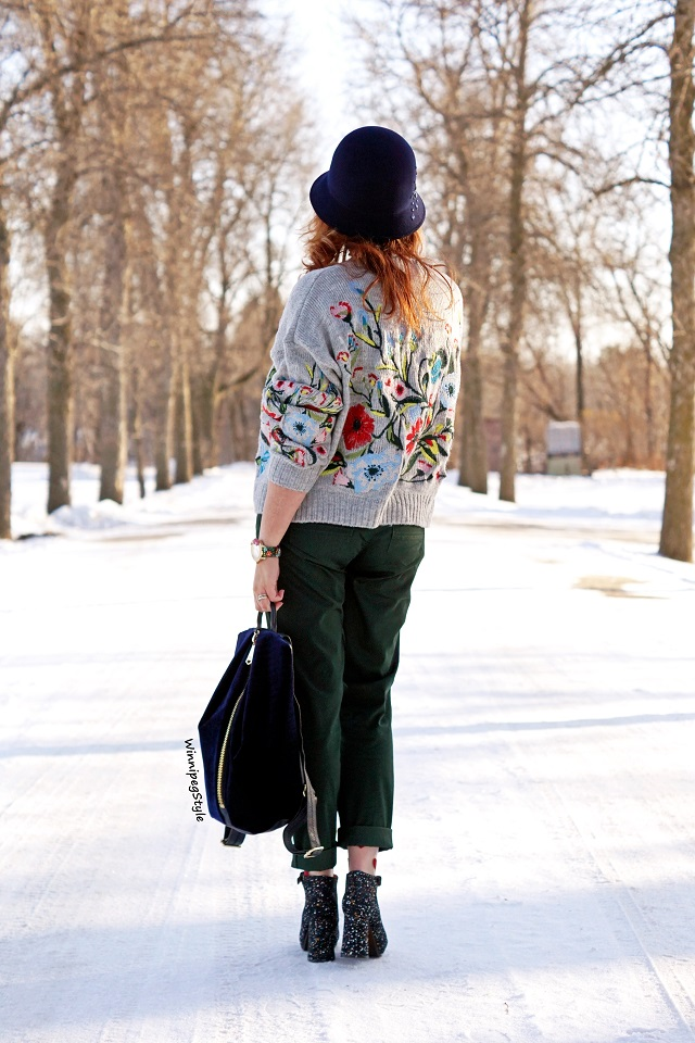 Winnipeg Style, Canadian fashion blog, Stylist, Chicwish embroidered fall winter sweater, Green Reitman Chinos, Tabbisocks clear red heart socks, Chie Mihara Liuma navy suede splatter paint platform heels, Navy designer Aimee Kestenberg velvet leather backpack bag purse, wool hat, modern vintage style, fall winter 2017 2018
