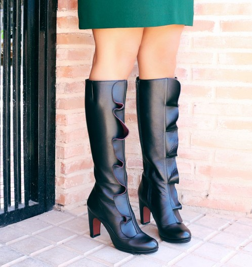 Chie Mihara Gayura Fall Winter collection 2017 2018 black leather ruffle knee high boot
