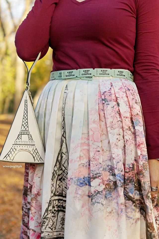 Winnipeg Style, fashion stylist, Canadian fashion blogger, Chicwish paris eiffel tower print skirt, wine Joe Fresh top, Chie Mihara Norman patent suede leather ankle strap shoe, Tile print, Parisian style, fall fashion, Kate Spade ticket belt, Eiffel tower novelty bag