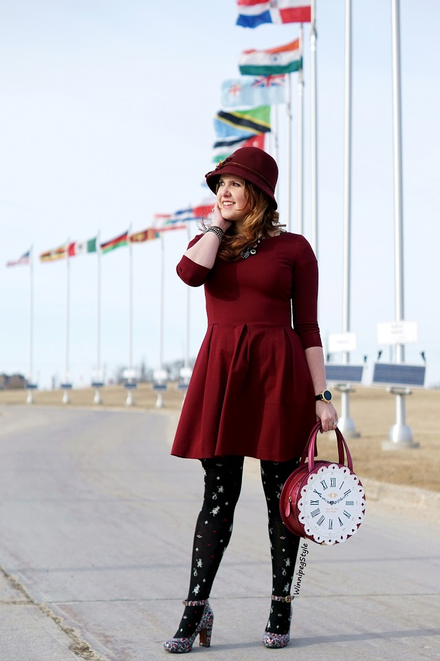 Winnipeg Style, Canadian Fashion blog, stylist, Tabbisocks cotton blend Alice in Wonderland print tights, Chie Mihara Normand stained glass textured patent leather and suede shoes, Banana Republic burgundy wine fit and flare dress, Darling's big clock handbag purse bag, white rabbit, Disney theme inspired