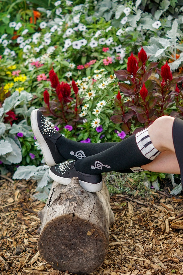 Winnipeg Style, Canadian Fashion blog, stylist, Tabbisocks Narasocks, knee high piano music notes black white socks, Bag Me Baby accordian handbag, Winners Cupio music note print tshirt, River Island black neoprene skirt, Soda pearl embellished sneakers Marshalls, Summer Fall 2018