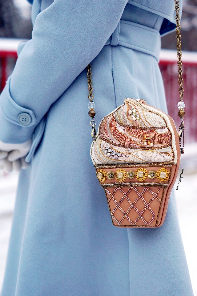 Winnipeg Style Fashion stylist, canadian blogger, Chicwish baby blue Mary Poppins inspired vintage style coat, Flared belted wool blend dress fall winter coat, outerwear, Mary Frances Ice cream beaded scoop bag handbag clutch